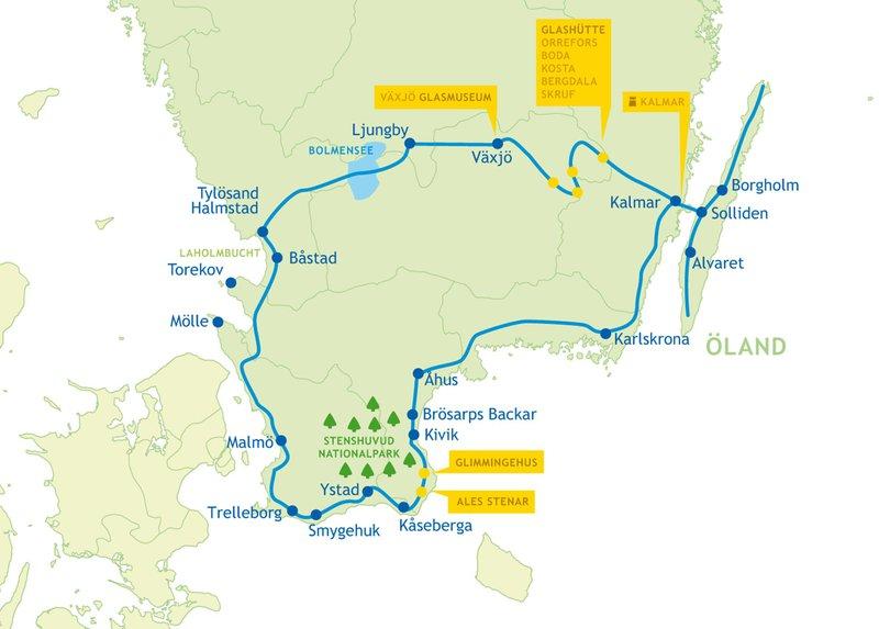 Karte der Rundreise durch Südschweden