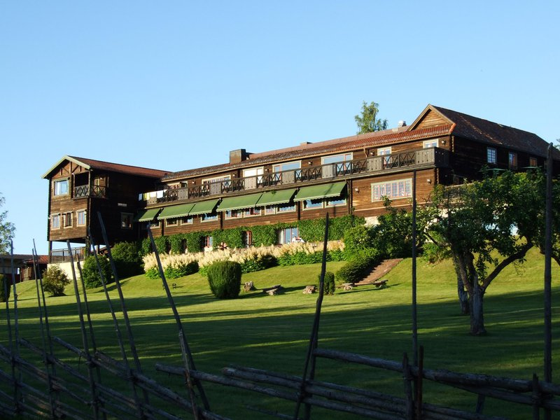Exterior of Green Hotel in the summer, Dalarna