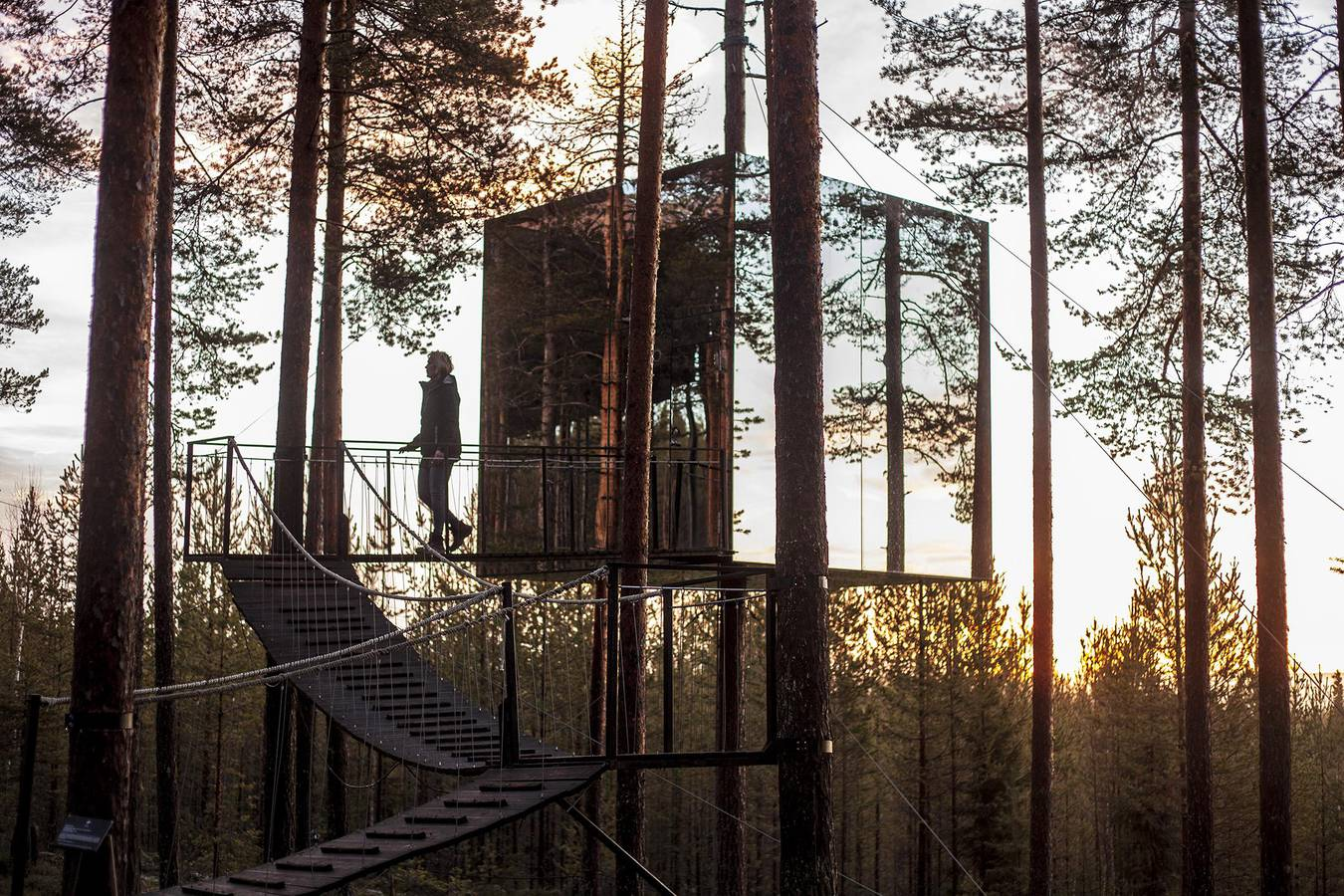 The Mirrorcube at the Treehotel in Harads, Swedish Lapland